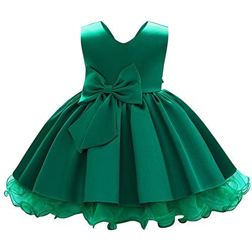 IWEMEK Vestito da sera per bambina, senza maniche, con scollo a V, in tulle satinato, da principessa, per matrimonio, damigella d'onore, comunione, compleanno, feste, ballo verde scuro 3-4 Anni