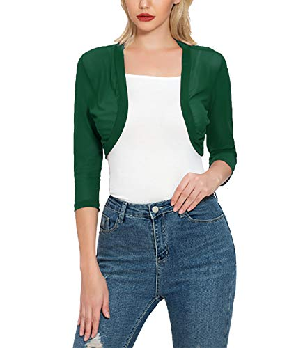 Tandisk Women's 3/4 Sleeve Shrug Open Front Cardigan Bolero Jacket Green XL