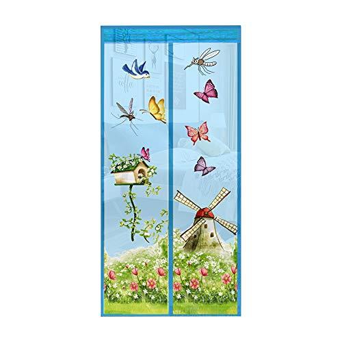 Covok - Mosquitera magnética para puerta, cortina antimoscas, cierre automático, malla ultrafina, antimosquitos, fácil de instalar sin taladrar para pasillos, puertas y patios, 90 x 210 cm, azul