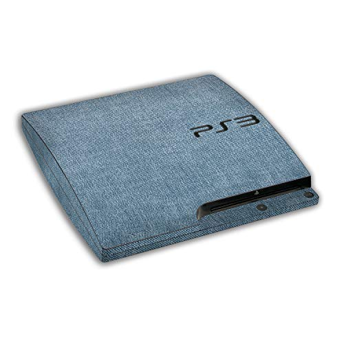 atFoliX Skin compatible avec Sony Playstation 3 Slim, Sticker Autocollant (FX-Denim-Blue), Aspect tissu jeans