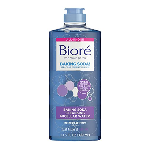 Bioré Baking Soda Cleansing Micellar Water, 13.5 Ounce, All-In-One Cleanser and Makeup Remover, Gentle Face Cleanser, Dermatologist Tested, Non-Comedogenic, Oil Free,