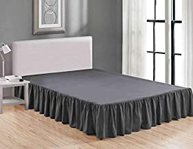 Sheets & Beyond Wrap Around Solid Luxury Hotel Quality Fabric Bedroom Dust Ruffle Wrinkle and Fade Resistant Gathered Bed Skirt 14 Inch Drop (Queen, Charcoal)