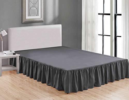 Sheets & Beyond Bettrock zum Umwickeln, luxuriös, Hotelqualität, staubabweisend, knitterfrei, gerafft, 35,6 cm lang Twin anthrazit