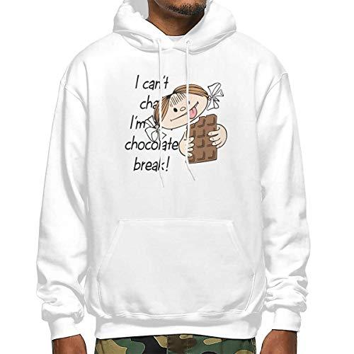 Heyuanqinkeji Mens Katoen Pullover Comfortabele Hoodie Sweatshirt Zwarte Print Ik Kan niet Chat, Ik ben Op Een Chocolade Break Hooded Shirts met Pocket