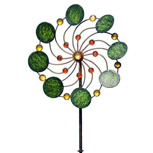 CIM Metall Windrad - Exotic Flower Samoa - Wetterfest - mit Kugellager - leichtgängig drehend - Ø34cm, Gesamthöhe: 122cm - inkl. 3-teiligem Standstab