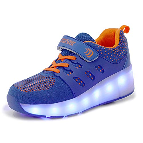 YSTHEZ Zapatos de ruedas para niños, retráctiles, unisex, para exteriores, con carga USB, color azul, 28EU