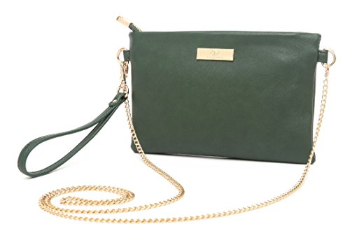 Aitbags Soft PU Leather Wristlet Clutch Crossbody Bag with Chain Strap Cell Phone Purse,Dark Green