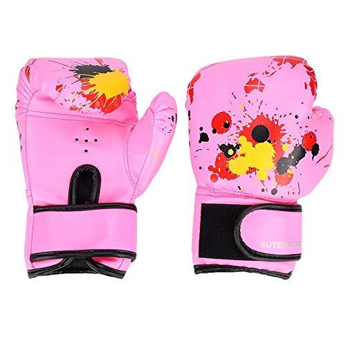 Alomejor Kinder Boxhandschuhe PU Leder Kinder Muay Thai Kickbox Kampf Boxhandschuhe Sparring Trainingshandschuhe Boxsack für Karate Muay Thai(pink)