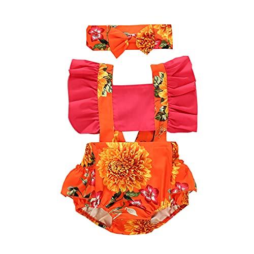 ChouZZ Mameluco floral para recién nacidos con manga de girasol ahueca hacia fuera vendaje+diadema de lazo trajes de verano