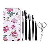 FITDON Eyebrow Grooming Set, Professional Slant Tip Tweezers & Curved Stainless Steel Scissors & 3PCS Brow Razors Trimmer & Duo Angled Eyebrow Brush with Spoolie