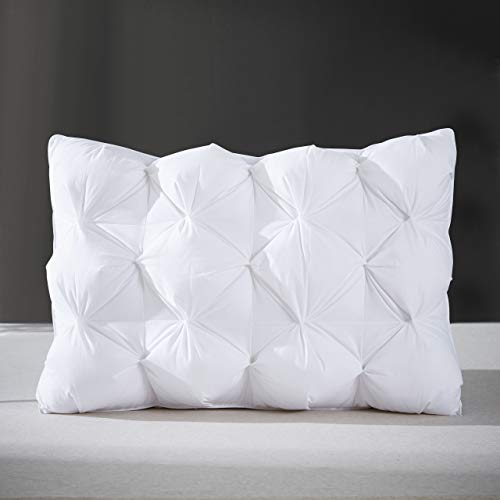 Arometerty Pinch Pleat Goose Feather Pillow White Bed Pillow for Different Sleep Requirements-100% Cotton Fabric Luxury Feather Pillows-Gusset Wall Design Pillow