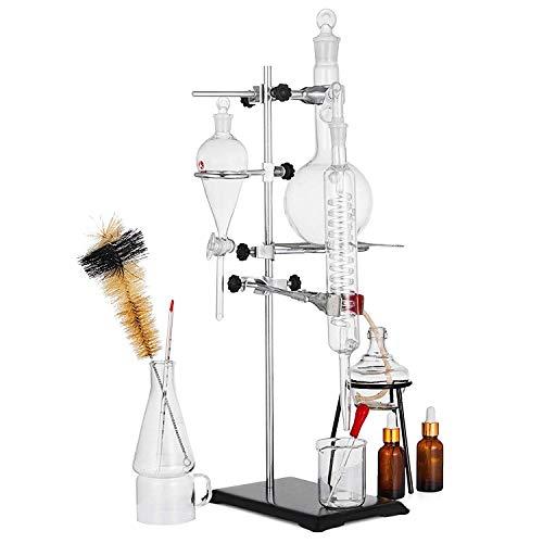 VEVOR Distillation Apparatus 500ML Lab Glassware Kit Glass Distilling for Pure Water Oil Essential Distillation with Condenser Pipe Flask(500ML,24/29)