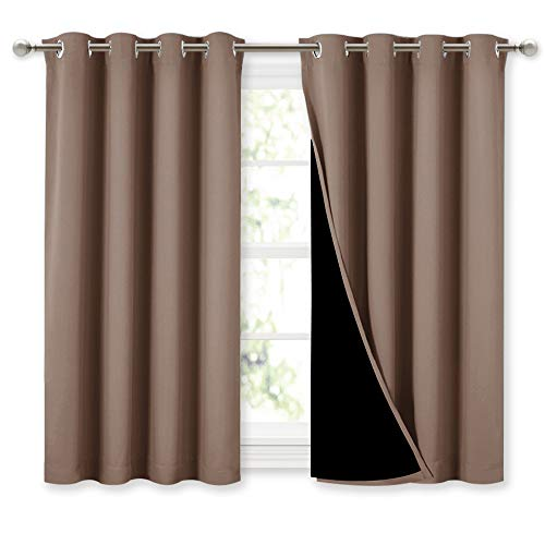 NICETOWN Bedroom Full Blackout Curtain Panels, Super Thick Insulated Window Covers, 100% Blackout Blinds with Black Liner for Small Window(Cappuccino, Set of 2 PCs, 52 by 45-inch)