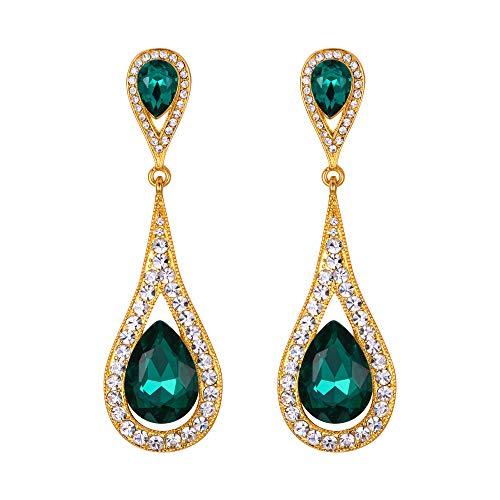 EVER FAITH Pendientes Mujer 2 Lágrimas Agua gota Cristal Colgantes Aretes Elegante Retro Verde Tono Dorado