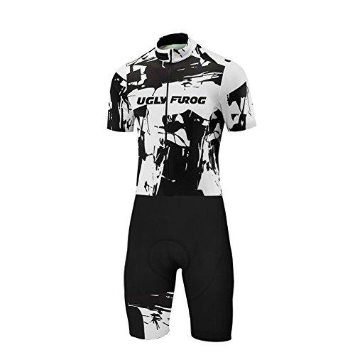 Uglyfrog Tuta Ciclismo Estiva Uomo Comoda Maglia a Maniche Corte e Pantaloncini Imbottiti 3D Traspiranti Vestiti Ciclismo Italia Flag Team Italia