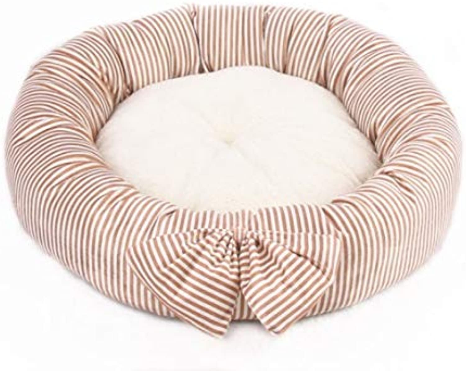 Autumn and Winter Cute Bow Round Kennel Teddy Small and Medium Dogs Pet nest mats cat Litter Four Seasons (color   Khaki, Size   L)