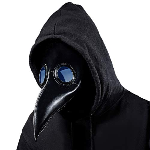 Lubber Plague Doctor Mask Gothic Cosplay Retro Steampunk Props for Halloween Costume (Simple Black)