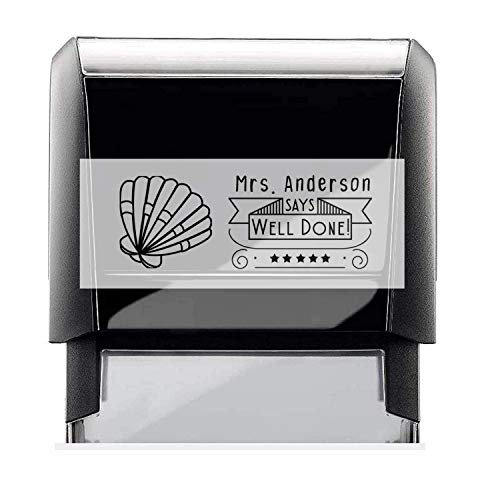 Classroom Teacher Rubber Stamp, Self-Inking Custom Well Done Student Stamper with Sea Shell Image. Size Approx. 7/8' x 2 3/8' Black, Blue, Green, Purple or Red Ink