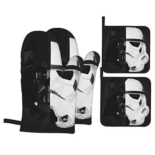 ESCFLAG Star Wars Topfhandschuhe und Topflappen Sets (4-teiliges Anzug), wasserdicht und hitzebeständig, guter Kochassistent