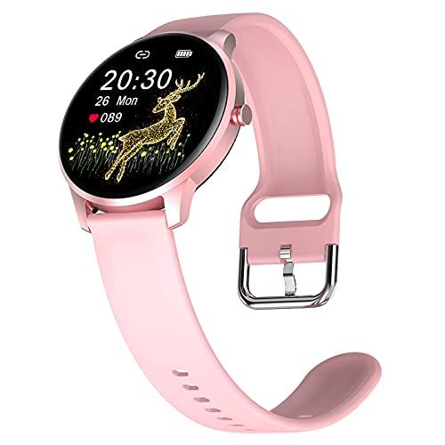 HQPCAHL Smartwatch, Reloj Inteligente Deportivo Impermeable IP68 Pulsera de Actividad Inteligente con Monitor de Sueño Controlador de Música para Hombre Mujer y Niños, Admite Android y iOS,Rosado