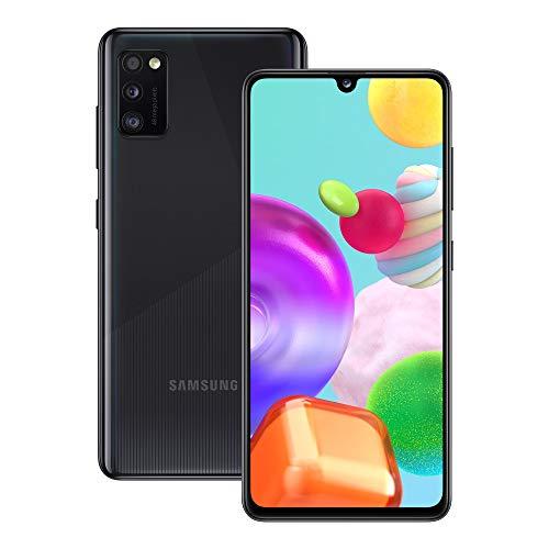 Samsung Galaxy A41 Smartphone, Display 6.1' Super AMOLED, 3 Fotocamere Posteriori, 64 GB Espandibili, RAM 4 GB, Batteria 3500 mAh, 4G, Dual Sim, Android 10, Nero
