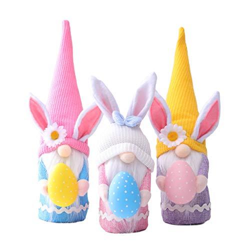 BOBEINI - Bambola senza volto, pasquale senza volto, con uovo di coniglio, decorazioni pasquali per la casa, coniglietto, pasqua