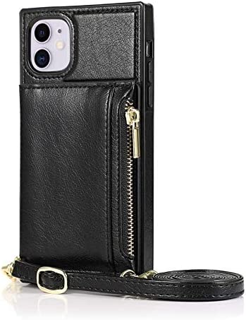 SLDiann Case for iPhone 11 6.1 inch, Zipper Wallet Case with Credit Card Holder/Crossbody Long Lanyard, Shockproof Leather TPU Case Cover for iPhone 11 6.1 inch (Color : Black)