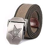 ZHYAODAI Unisex Cinturón Cinco Radios Star Cinturon Militar Patriótico Viejos Soldados Retirados Canvas Jeans,Armygreen Banda Lateral,110Cm.