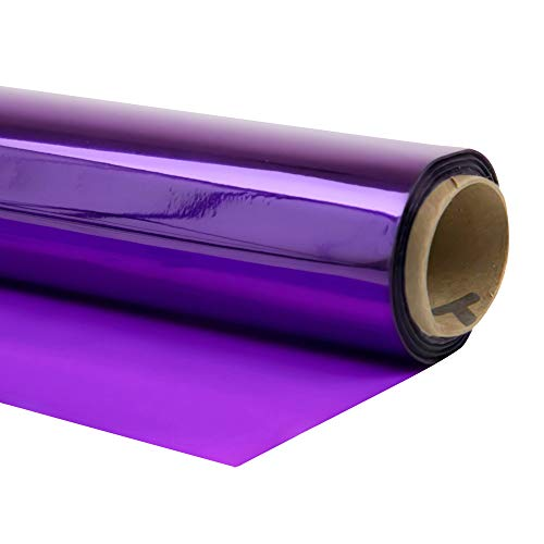 Cellophane Wrap 40'x100' Mylar Sheet Cellophane Roll Great Wrapping Paper for Craft Basket (Purple)