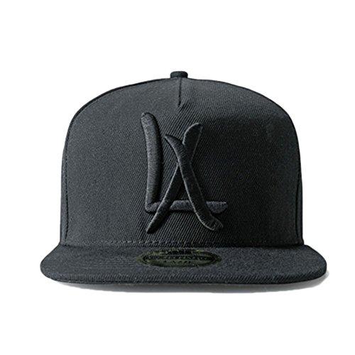 LEEYA N10 Classic Punk Hip-Hop Baseball Cap,Flat-Brimmed Hat,100% Cotton Adjustable Snapback Hat for Men Or Women (Black)