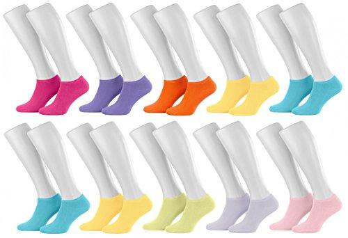 Tobeni 10 Paires Chaussettes de Baskets Sneakers Socquettes pour Femme et Adolescents Couleur Colore pour les femmes Taille 37-42