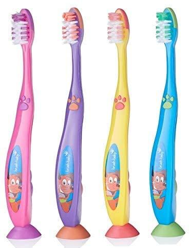 Brosse à fil pour bébé (6 ans et plus). Poils épais pour dents mixtes, bretelles, enfants qui ne fleurissent pas. Lot de 4 couleurs mixtes.