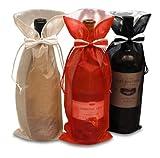 Weinflaschen-Geschenkhüllen für Zuhause, Party-Dekoration, Abendessen, Tischträger, Bar-Dekor (3 Organza-Fliegen)
