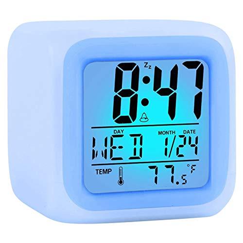 Heritan Reloj despertador digital de viaje para dormitorio y niña, pequeño escritorio, reloj de noche, pantalla de hora/fecha, luz de noche LED con función de repetición