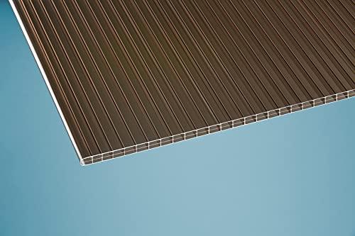 Plancha de policarbonato de cámara hueca doble, 16 mm, color bronce, 1200 x 4000 mm, color marrón
