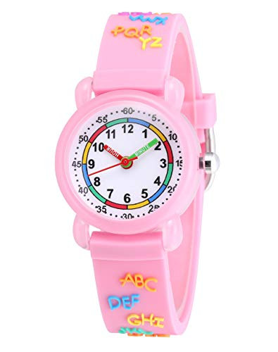 Jewtme Cute Toddler Children Kids Watches Ages 3-8 Analog Time Teacher 3D Silicone Band Cartoon Watch for Little Girls Boys (Letters-Pink)