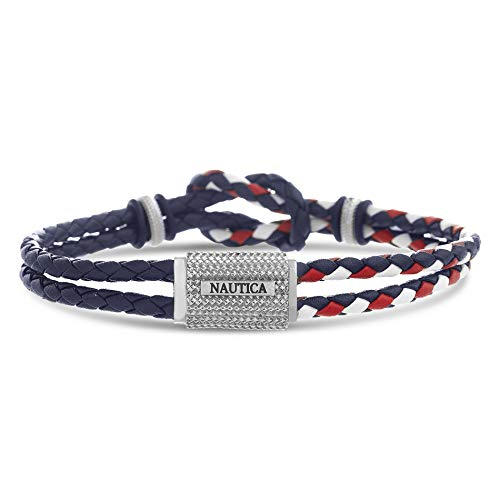 Nautica Double Strand Red Black Braided Leather Knot Design Texture Bar Stainless Steel Bracelet for Men