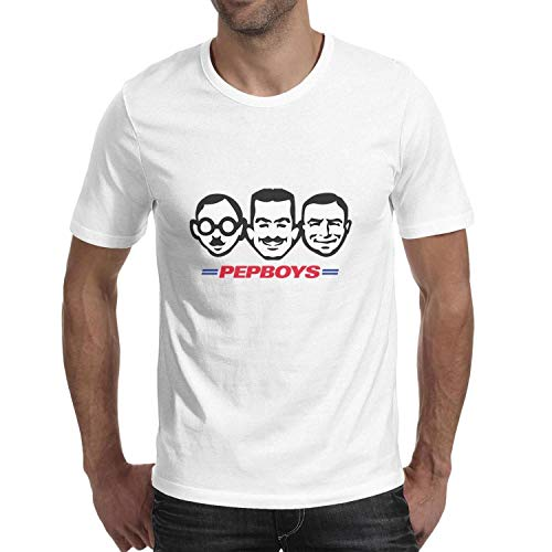 HOTMN Pep Boys Men Cool Round Neck T-Shirt Style Breathable Cotton Short-Sleeve Tees