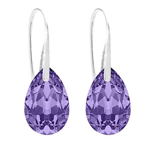 Ah! Jewellery Women's 16mm Tanzanite Pear Crystals Fish Hook Earrings, Sterling Silver. Stamped 925. 3gr Total Weight.