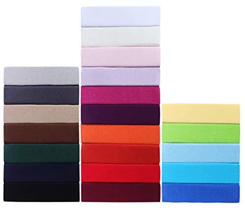 GREEN MARK Textilien Jersey Spannbettlaken, Spannbetttuch 100prozent Baumwolle in vielen Größen & Farben MARKENQUALITÄT ÖKOTEX Standard 100 | 180 x 200 cm - 200 x 200 cm - Creme/Natur