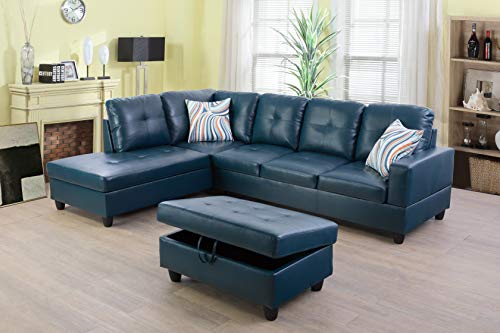 Beverly Fine Funiture Sectional Sofa Set, Turquoise