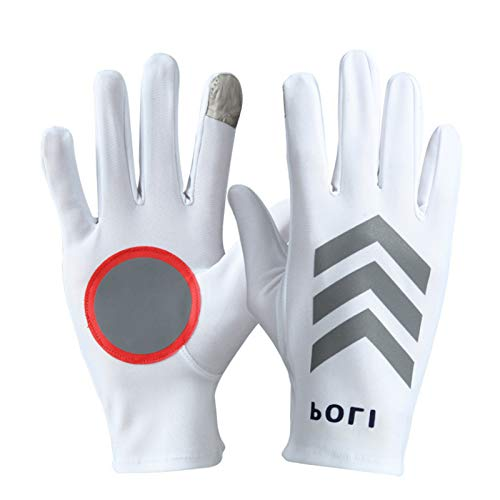 DEORBOB Sunscreen Ice Silk White Gloves Ultra-Thin Sweat Absorption Non-Slip Wear-Resistant Mitts UV Protection Section On Duty Traffic Command Patrol Night Reflective Touch Screen Mittens
