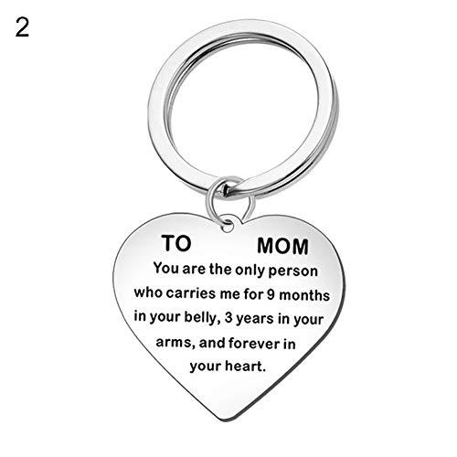 FOReverweihuajz Collar De Corazón De Acero Inoxidable Collar De Día De La Madre Colgante Regalo Regalo De Cumpleaños Llavero De Metal 2#
