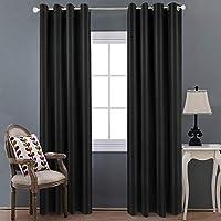 寝室のための遮光カーテン - グロメットカーテン断熱部屋の暗いカーテン、2つの窓のカーテンパネル,D,2×W55×L86in