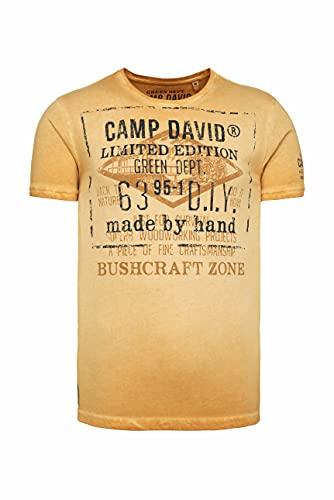 Camp David Herren T-Shirt mit Vintage Print und Used-Färbung