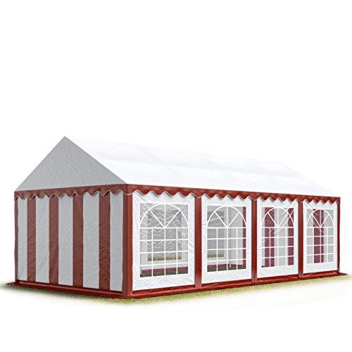 TOOLPORT Tendone per Feste 4x8 m PVC Rosso-Bianco 100% Impermeabile Gazebo da Giardino Tendone da Esterno Tenda Party