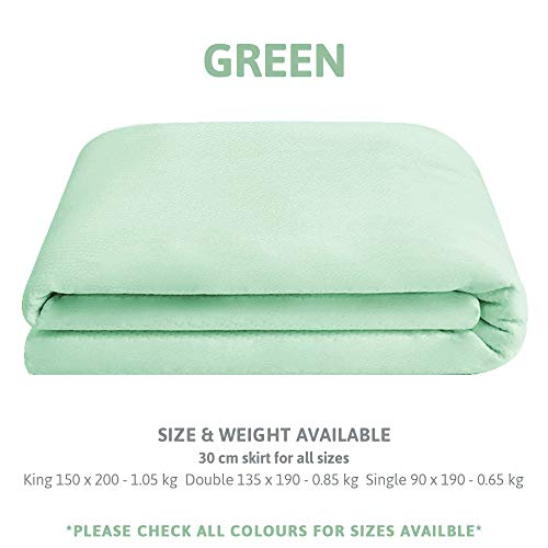 LOTUS Waterproof Mattress Cover Protector Breathable Bamboo Terry Memory Foam Fabric, in Green Double 135 x 190 cm & 30 cm skirt for perfect deep fitting