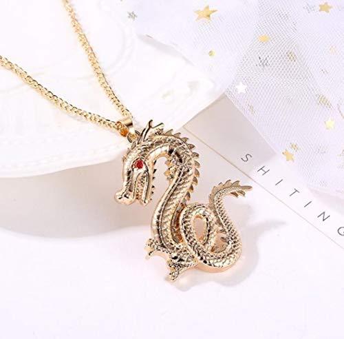 Halskette mit Drachenmotiv, goldfarben, Drachenfigur, Halskette