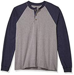 Heavyweight 100% Cotton (heathers: 60% Cotton/polyester) Henley sports a three-button placket Famously durable beefy-t fabric Soft, pure cotton feels terrific all day long Traditional set-in sleeves for solids; raglan sleeves for color blocks