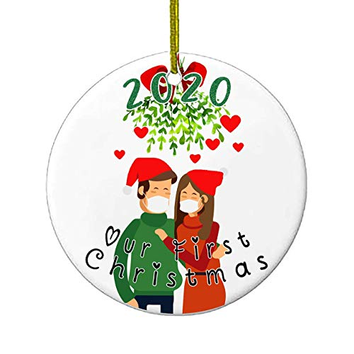 Christmas Ornaments | Our First Christmas 2020 Funny Quarantine Gift | 1st Holiday XMAS Tree Ornament For Newly Weds Wedding Couple Gifts | Social Distancing Novelty | Ceramic Holiday